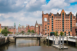 View of historic Speicherstadt with Maritime Museum on the right in Hamburg Germany
