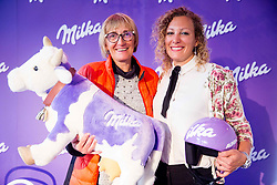 Darja Crnko with her daughter Ilka Stuhec during Milka press conference, on October 3, 2017 in Lolita Cake Shop, Ljubljana, Slovenia. Photo by Vid Ponikvar / Sportida