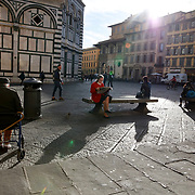 FLORENCE, ITALY - OCTOBER 31: <br /> An early morning scene outside the exterior of Florence's Cathedral, Basilica di Santa Maria del Fiore, known as Duomo in Florence, Italy. The Duomo is the main church of the city of Florence. Construction was started in 1296 in the Gothic style with the structure completed in 1436. The famous dome was designed by Arnolfo di Cambio and engineered by Filippo Brunelleschi. Florence, Italy, 31st October 2017. Photo by Tim Clayton/Corbis via Getty Images)