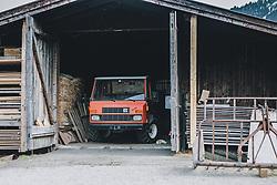 THEMENBILD - ein Traktor in einem Stadl mit Heuballen. Eine kleine Katze schläft im Eingangsbereich, aufgenommen am 03. April 2020 in Kaprun, Oesterreich // a tractor in a barn with hay bales. A small cat sleeps in the entrance area, in Kaprun, Austria on 2020/04/03. EXPA Pictures © 2020, PhotoCredit: EXPA/Stefanie Oberhauser