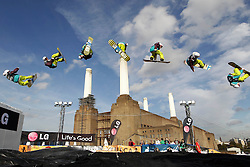 © Licensed to London News Pictures. 29/10/2011, London, UK.  A combination sequence picture of Finland's Petja Piiroinen jumps during a qualification heat of the FIS Snowboard World Cup Bir Air competition at the Freeze Snowboard and Ski Festival at Battersea Power Station in London, Saturday, Oct. 29, 2011. Photo credit : Sang Tan/LNP
