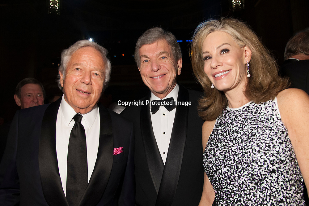 New England Patriots' owner Robert Kraft, Former Senator Roy Blunt (C),  and Abigail Perlman Blunt  (R) pose for a photo during the Chairman's Global Dinner at the Andrew W. Mellon Auditorium in Washington DC on January 17, 2017.