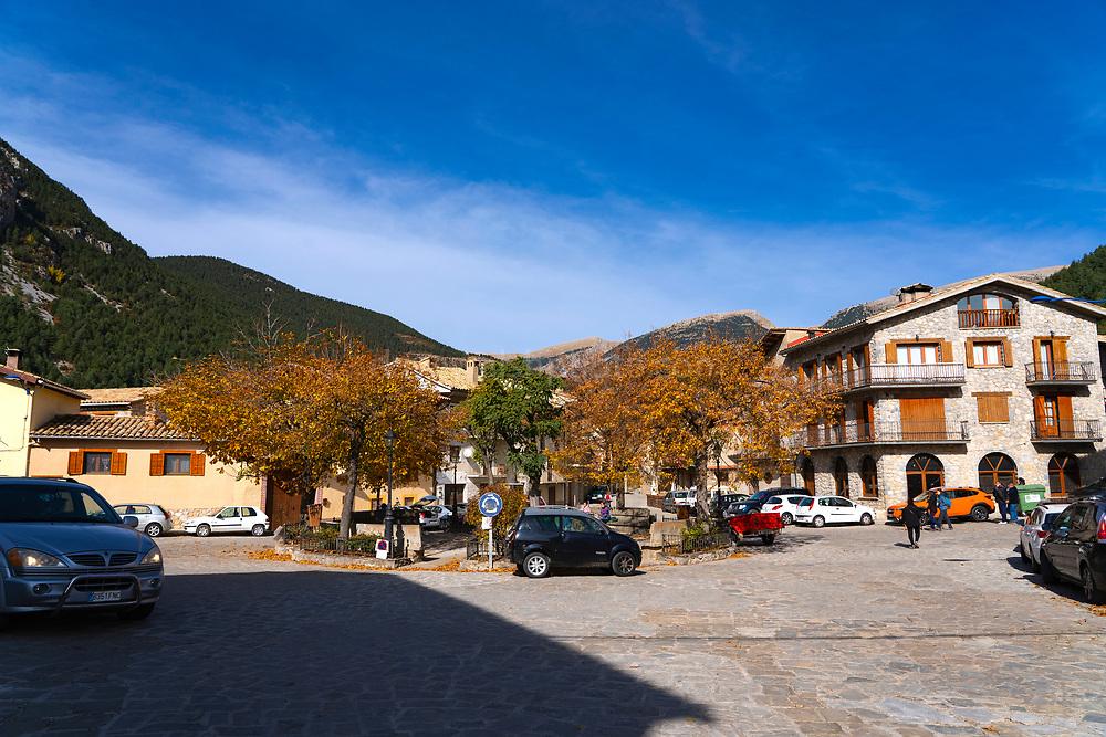 Placa Major, the main square in Gosol, Catalonia