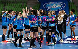 Players of Krim celebrate after winning during 1st Leg handball match between RK Krim Mercator (SLO) and CSKA Moscow (RUS) in the Round of 16 of Delo EHF Women's Champions League 2020/21, on March 6, 2021 in Arena Stozice, Ljubljana, Slovenia. Photo by Vid Ponikvar / Sportida
