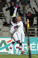 FOOTBALL - FRENCH CUP 2011/2012 - 1/8 FINAL - OLYMPIQUE LYONNAIS v GIRONDINS BORDEAUX - 8/02/2012 - PHOTO EDDY LEMAISTRE / DPPI -  JOY OF BAFE GOMIS AFTER HIS GOAL (OL) WITH LISANDRO LOPEZ