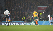 Australia's Bernard Foley scoring the decisive penalty to give Australia the win during the Rugby World Cup Quarter Final match between Australia and Scotland at Twickenham, Richmond, United Kingdom on 18 October 2015. Photo by Matthew Redman.