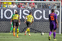 July 22, 2018 - Charlotte, North Carolina, USA - Borussia Dortmund midfielder Christian Pulisic (22) getting ready to take a penalty kick during an International Champions Cup match at Bank of America Stadium in Charlotte, NC.  Borussia Dortmund of the German Bundesliga beat Liverpool of the English Premier League 3 to 1. (Credit Image: © Jason Walle via ZUMA Wire)
