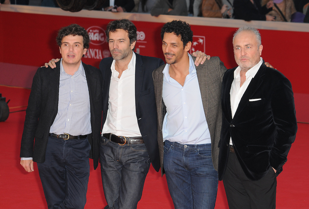 """Nicolas Saada, Frederic Jardin, Tomer Sisley and Marco Cherqui at the premiere of """"Nuit Blanche"""" during the 6th International Rome Film Festival..{month name}28, 2011, Rome, Italy.Picture: Catchlight Media / Featureflash"""