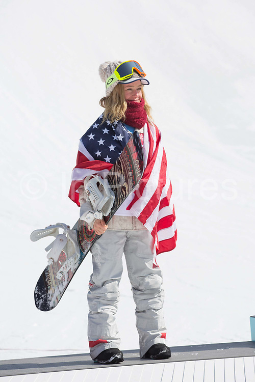 Jamie Anderson, USA, SILVER, during the womens snowboard big air flower ceremony at the Pyeongchang 2018 Winter Olympics on 22nd February 2018, at the Alpensia Ski Jumping Centre in Pyeongchang-gun, South Korea