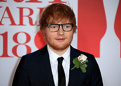 attends the Brit Awards at the O2 Arena in London, UK. 21 Feb 2018 Pictured: Ed Sheeran. Photo credit: MEGA TheMegaAgency.com +1 888 505 6342