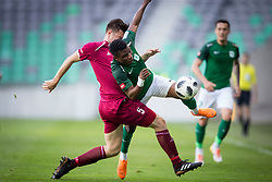 Rok Elsner of NK Triglav Kranj and Abass Issah of NK Olimpija Ljubljana during football match between NK Olimpija Ljubljana and NK Triglav Kranj in Round #31 of Prva liga Telekom Slovenije 2017/18, on May 6, 2018 in SRC Stozice, Ljubljana, Slovenia. Photo by Urban Urbanc / Sportida