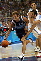 26/08/04 - ATHENS  - GREECE -  - BASKETBALL QUARTERFINAL MATCH   - Indoor Olympic Stadium - <br />ARGENTINA win (69) over GREECE (64) <br />Argentine celebration after win the match.<br />Here Arg. N*4 PEPE SANCHEZ and Greece N*5 PAPALOUKAS Theodoros<br />© Gabriel Piko / Argenpress.com / Piko-Press