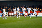 Newport players celebrate a goal to make it 1-1 during the EFL Sky Bet League 2 match between Crawley Town and Newport County at the Checkatrade.com Stadium, Crawley, England on 17 December 2016. Photo by Andy Walter.