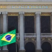 A close up of the recently restored exterior of the Teatro Municipal, The Municipal Theatre in the Centre of Rio de Janeiro.Rio de Janeiro,  Brazil. 3rd September 2010. Photo Tim Clayton.