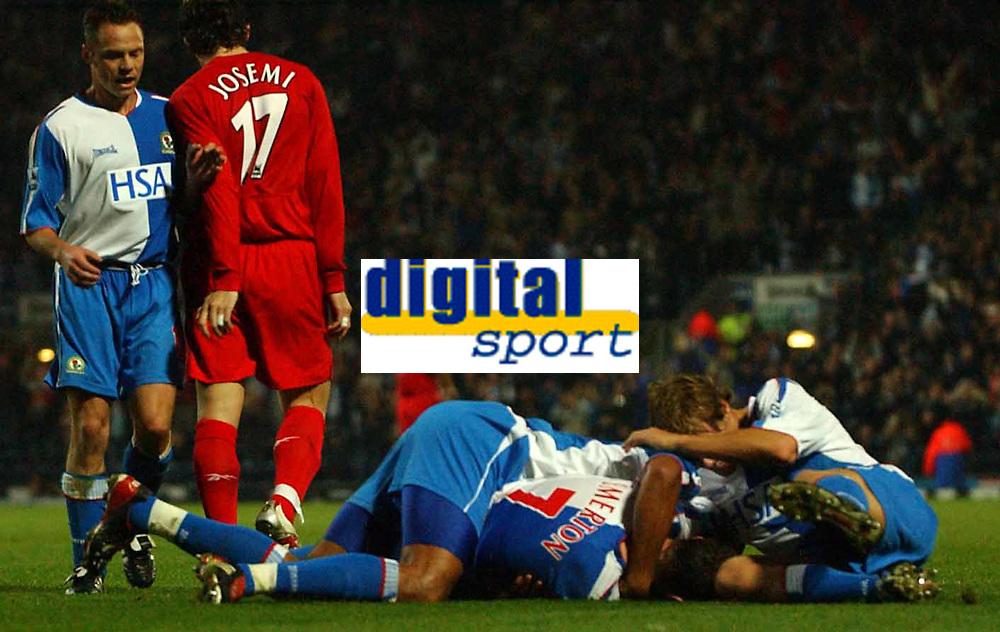 Photo: Back Page Images. 30/10/2004.<br /> Barclays Premiership. Blackburn Rovers v Liverpool. Ewood Park.<br /> Brett Emerton is Mobbed after puttin Blackburn 2-1 up