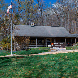 Thurmont, MD / USA - April 26, 2015:  The Visitor Center at the Catoctin Mountain Park near Thurmont, Maryland. The Park is managed by the National Park Service.