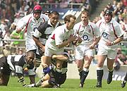 Twickenham. England. RFU Stadium, Surrey. <br /> Photo Peter Spurrier25/05/2003<br /> 2003 - Rugby - England v Barbarians.<br /> Phil Cristophers attacking         [Mandatory Credit: Peter SPURRIER/Intersport Images]