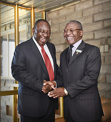 MASERU, June 23, 2016 (Xinhua) -- Visiting South?African Deputy President Cyril Ramaphosa (L) shakes hands with Lesotho's Prime Minister Phakalitha Mosisili,?in Maseru, Lesotho, June 23, 2016. South?African Deputy President Cyril Ramaphosa, in his capacity as facilitator of the Southern African Development Community (SADC),?arrived in Maseru, Lesotho on Wednesday on a working visit aimed at promoting peace and security in the kingdom.?(Xinhua/DOC/Siyasanga Mbambani) (Credit Image: © Xinhua via ZUMA Wire)
