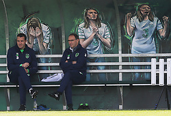 Republic of Ireland manager Martin O'Neill (right) sits in the dugout with John O'Shea during a training session at the FAI National Training centre, Abbotstown.
