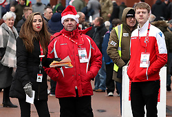 Stoke City staff outside the ground before the game