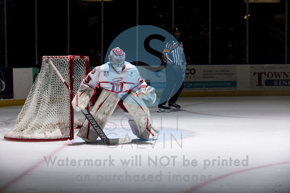 Youngstown Phantoms lose 5-4 to the Dubuque Fighting Saints at the Covelli Centre on March 13, 2021.<br /> <br /> Hobie Hedquist, goalie, 35