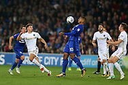 Kenneth Zohore of Cardiff city © in action. EFL Skybet championship match, Cardiff city v Leeds Utd at the Cardiff city stadium in Cardiff, South Wales on Tuesday 26th September 2017.<br /> pic by Andrew Orchard, Andrew Orchard sports photography.