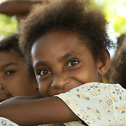 Portrait of a timid papua girl.
