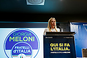 Giorgia Meloni, candidate for prime minister of Fratelli d'Italia party, attends an electoral event. Bari, 23 february 2018. Christian Mantuano / OneShot