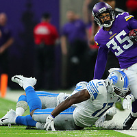 MINNEAPOLIS, MN - NOVEMBER 4: Marcus Sherels #35 of the Minnesota Vikings is forced out of bounds with the ball by Andy Jones #17 of the Detroit Lions in the first half of the game at U.S. Bank Stadium on November 4, 2018 in Minneapolis, Minnesota. (Photo by Adam Bettcher/Getty Images) *** Local Caption *** Marcus Sherels;Andy Jones