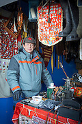 Street vendor selling Soviet Era memorabilia, Khabarovsk.Siberia, Russia