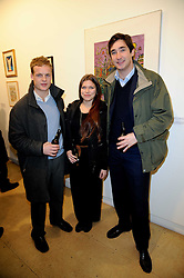 Left to right, NICK SCOTT, REBECCA HOFFNUNG and the HON.WILL VESTEY at a Pop Up exhibition of Fine Art held at the Broadbent Gallery, 25 Chepstow Corner, Chepstow Place, London W2 on 7th December 2010.