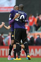West Ham's Diafra Sakho celebrates his goal with West Ham's Guy Demel - Photo mandatory by-line: Dougie Allward/JMP - Mobile: 07966 386802 - 25/01/2015 - SPORT - Football - Bristol - Ashton Gate - Bristol City v West Ham United - FA Cup Fourth Round