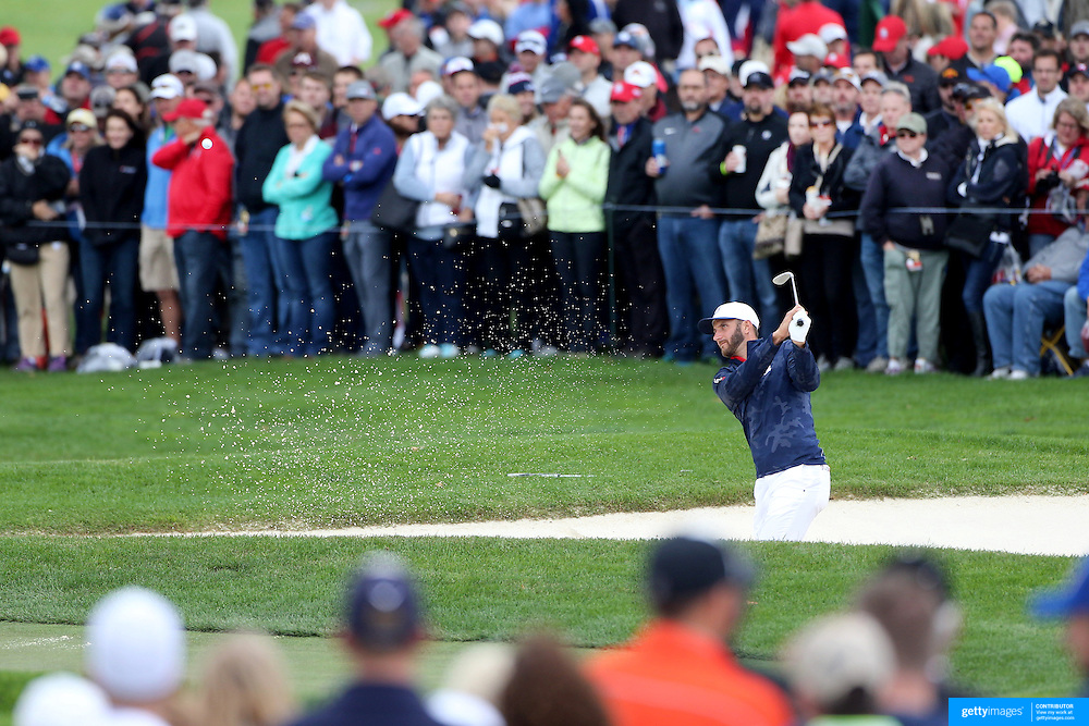 Ryder Cup 2016. Dustin Johnson of the United States practices on the 17th green during practice day in front of massive crowds at the Hazeltine National Golf Club on September 28, 2016 in Chaska, Minnesota.  (Photo by Tim Clayton/Corbis via Getty Images)