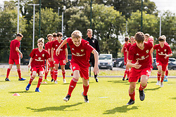 WREXHAM, WALES - Thursday, August 15, 2019: Wales Daniel Watts (left) and Jonathan Bland during the pre-match warm-up before the UEFA Under-15's Development Tournament match between Wales and Northern Ireland at Colliers Park. (Pic by Paul Greenwood/Propaganda)