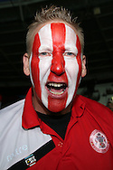 an Accrington Stanley fan looks on.. EFL Cup, 3rd round match, West Ham Utd v Accrington Stanley at the London Stadium, Queen Elizabeth Olympic Park in London on Wednesday 21st September 2016.<br /> pic by John Patrick Fletcher, Andrew Orchard sports photography.