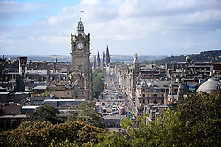General view of Princes Street and the Balmoral Clock in Edinburgh city centre Scotland.