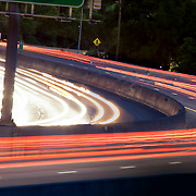 Light trails and motion blur from highway car traffic on Interstate 35 in the Kansas City area.