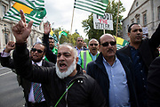 Demonstration to free Kashmir in Westminster on 3rd September 2019 in London, United Kingdom. Kashmiris waving flags gathered in Westminster and marched along Whitehall in protest at Indian Prime Minister Narendra Modi's removal of the special autonomous region rights of Kashmir.