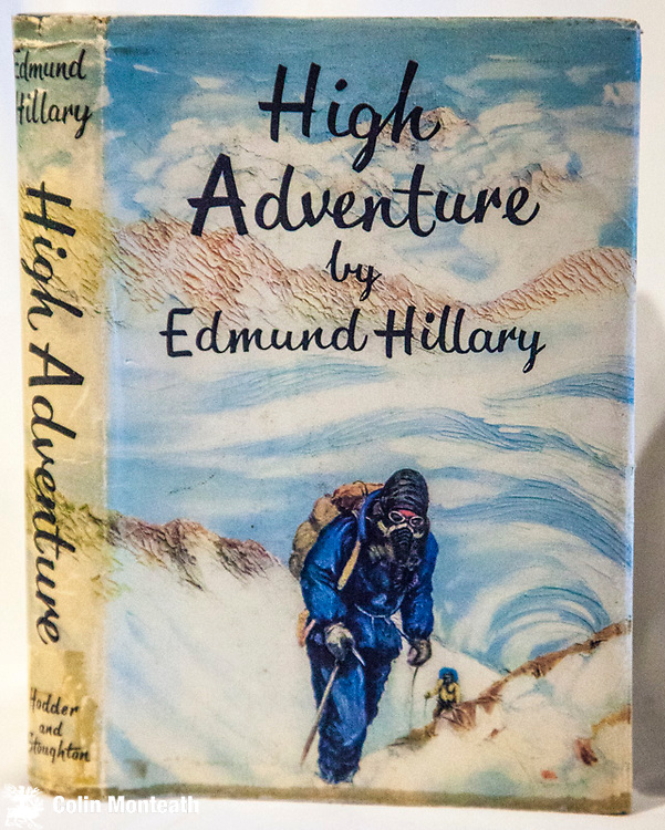 """HIGH ADVENTURE - EDMUND HILLARY - 1st edn.,1st impression,  1955, Hodder & Stoughton, London, VG, virtually no foxing, minor tape marks on fep, good jacket with minor marks top and bottom,  - Ed Hillary's account of his 1953 climb, """"My favourite book"""" - this copy signed E.P. Hillary on reverse title page (rare to be signed this way) $NZ550. ( Previous owner's signature on fep) Another VG signed copy 'Ed Hillary' as he signed in more recent years $NZ300"""