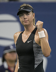 August 28, 2018 - Flushing Meadows, New York, U.S - Maria Sharapova reacts after winning her match against Patty Schnyder on Day 2 of the 2018 US Open at USTA Billie Jean King National Tennis Center on Tuesday August 28, 2018 in the Flushing neighborhood of the Queens borough of New York City. Sharapova defeats Schnyder , 6-2, 7-6  (Credit Image: © Prensa Internacional via ZUMA Wire)