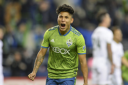 November 8, 2018 - Seattle, Washington, U.S - Seattle's RAUL RUIDIAZ (9) celebrates his 2nd half goal as the Portland Timbers visit the Seattle Sounders in a MLS Western Conference semi-final match at Century Link Field in Seattle, WA. (Credit Image: © Jeff Halstead/ZUMA Wire)