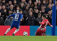 Football - 2017 / 2018 UEFA Champions League - Group C: Chelsea vs. Atletico Madrid<br /> <br /> Eden Hazard (Chelsea FC)  wrong foots Jose Gimenez (Atletico Madrid) at Stamford Bridge.<br /> <br /> COLORSPORT/DANIEL BEARHAM