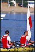 Sydney. AUSTRALIA. 2000 Summer Olympic Regatta, Penrith. NSW.  <br /> <br /> POL LM2X gold medalist; Bow. KUCHARSKI, Tomasz and  SYCZ, Robert. <br /> <br /> [Mandatory Credit Peter SPURRIER/ Intersport Images] Sydney International Regatta Centre (SIRC) 2000 Olympic Rowing Regatta00085138.tif