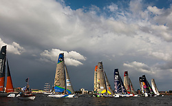 "Kiel - Germany, 28th of August 2009. iShares cup. First day of racing...The first racing day consisting of 8 races. Picture shows the Oman Sail's ""Masirah"" sailing on opening day of the iShares Cup in Kiel, Germany."