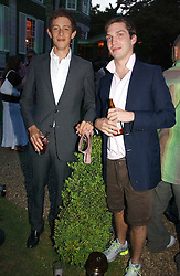 Left to right, the HON.JAMES ROTHSCHILD and WILLIAM AITKEN at the Quintessentially Summer Party held at Debenham House, 8 Addison Road, London W14 on 15th June 2006.<br />