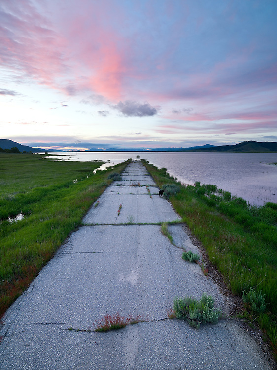 Asphalt paved road disappears into Cascade Lake on a spring sunset in Central Idaho. Limited Edition Prints of 17.