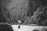 Fly fishing on the North Umpqua River. Cascade Mountains, Oregon.