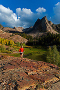 Holly Merriman running the Lake Blanche Trail at the Mill B South Fork of Big Cottonwood Canyon, Utah