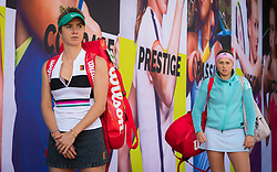 February 13, 2019 - Doha, QATAR - Elina Svitolina of the Ukraine & Jelena Ostapenko of Latvia head onto the court for her second-round match at the 2019 Qatar Total Open WTA Premier tennis tournament (Credit Image: © AFP7 via ZUMA Wire)