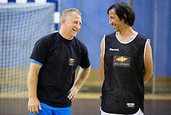 Tomaz Vnuk and Primoz Peterka during football and basketball charity event All Legends by Olimpiki, on June 9, 2015 in Hala Tivoli, Ljubljana, Slovenia. Photo by Vid Ponikvar / Sportida